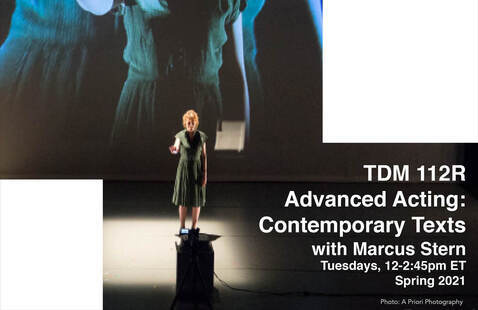 TDM 112R course flyer: a woman in a green dress stands on stage with her hand out in front of her
