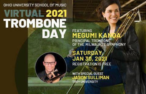 2021 Trombone Day promotional image showing Megumi Kanda and Jason Sulliman