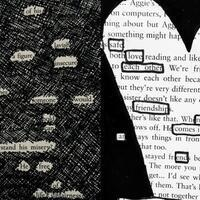collage of two style of blackout poetry, one with all unnecessary words blacked out and one designed in the shape of a heart