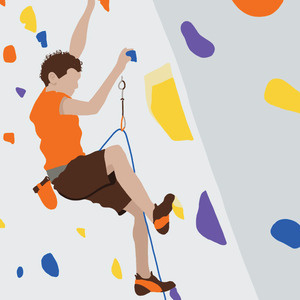 Drawing of man climbing rock wall