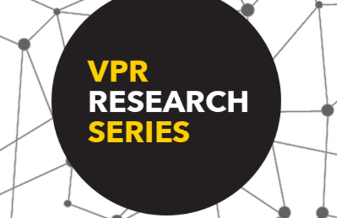 "Abstract image of a network with ""VPR Research Series"" in a centered circle."