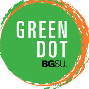 """Green Dot Logo, green circle with white text """"green dot"""" and black text with 'BGSU'"""