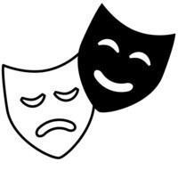 Clip art graphic of comedy and tragedy theatre masks