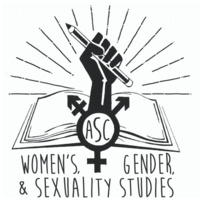 graphic of a fist rising from a book holding a pencil with the all gender symbol
