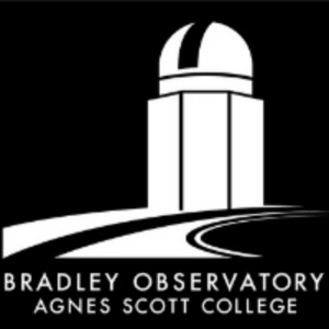 graphic of bradley observatory in stark white against black background