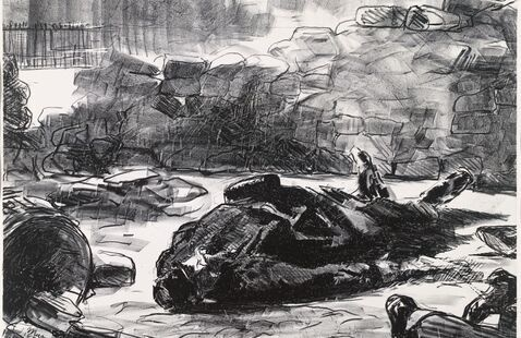 drawing of bodies on the ground