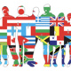Image of several people's outlines filled with flags from around the world