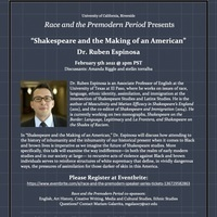"""Dr. Ruben Espinosa - """"Shakespeare and the Making of an American"""""""