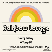 White flyer with orange and purple rainbow and black text.