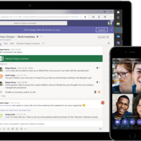 Microsoft Teams chat on a laptop screen and video conference on a phone screen.