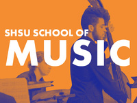 SHSU School of Music. A student wearing black clothes plays an upright bass while another in the background plays the drums.