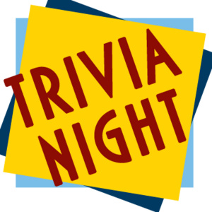 """Dark red words """"trivia night"""" superimposed on a yellow and blue background."""
