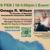 """Omega R. Wilson: """"The Community-Owned and Managed Research (COMR) Model for Equity in Research"""""""
