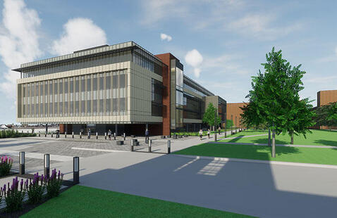 architect rendering of the new Nursing and Health Sciences building