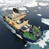 Arial photo of ship in Northwest Passage