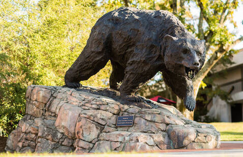 The Charge bear sculpture on LR campus