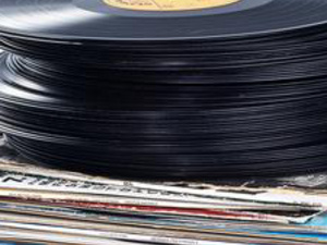 Stack of vinyl record albums
