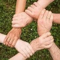 Six hands linking together