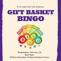 Gift basket bingo advertisement with event details