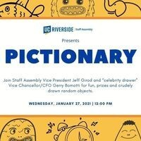 """Pictionary with Jeff Girod and """"celebrity drawer"""" Vice Chancellor/CFO Gerry Bomotti"""