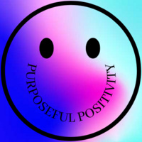 Smiley face with the smile spelled out with the words Purposeful Positivity