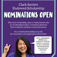 Clark Society nominations open poster