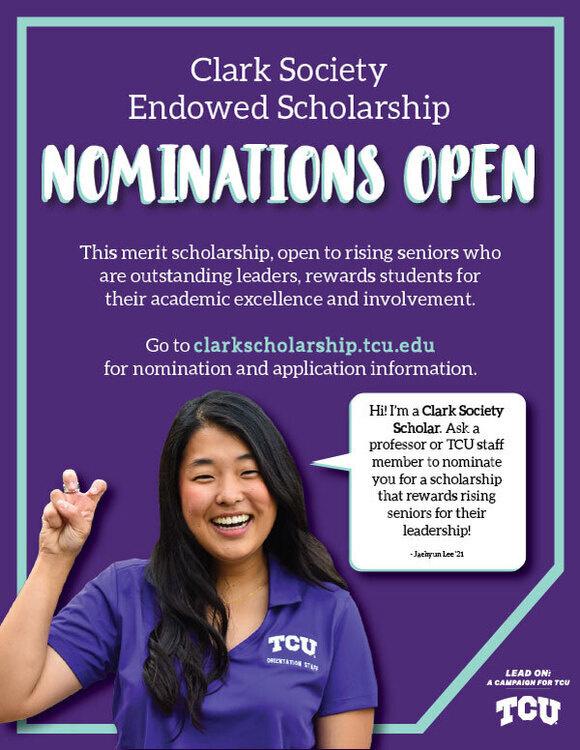 Tcu Calendar 2022.2021 2022 Clark Endowed Society Scholarship Texas Christian University