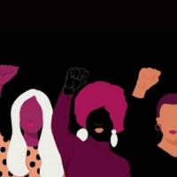 Black women with hand raised