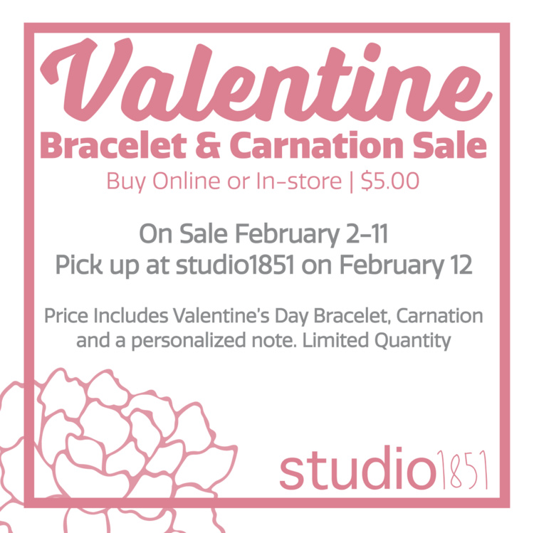 Valentine Bracelet & Carnation Sale with studio1851 at Winslow Academic Center