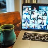 Zoom Screen and Coffee Mug