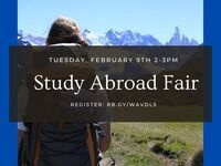 Study Abroad Fair: February 9 at 2-3 PM. Register: rb.gy/wavdl5
