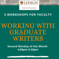3 workshops for faculty. Working with graduate writers. Second monday of the month. 4:00pm-5:30pm.