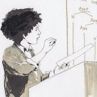 Illustration of a scientist giving a lecture from a podium with a paper in one hand and a whiteboard diagram in the background