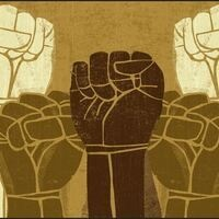 Raised fists in various skin tones