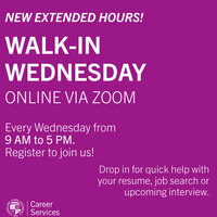 Career Services: Walk-In Wednesdays