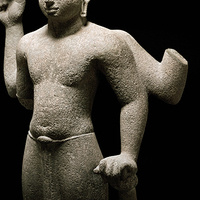 Vishnu. Vietnam (Mekong delta region) Khmer culture, pre-Angkor phase. Zhenla period, 2nd half of the 7th century. Sandstone. 38 x 20⅝ x 11½ in. (96.5 x 52.4 x 29.2 cm). Crow Museum of Asian Art of The University of Texas at Dallas, 1999.30.