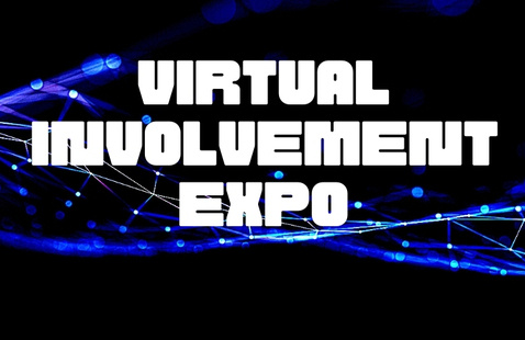 Virtual Involvement Expo text on blue background with connections graphic