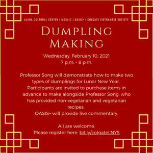 ALANA and Mosaic Present: Dumpling Making
