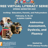 Free Virtual Literacy Series with text information on the sessions and photos of teachers teaching children