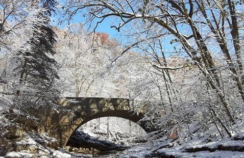 McCormick's Creek Stone Arch Bridge in Winter