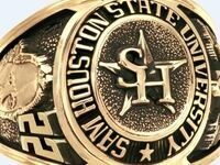 Sam Houston State University Class Ring. The ring is cold and features the SHSU logo as well as other embellishments.