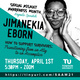 """Teal advertisement with a black and white headshot of this year's Sexual Assault Awareness Month keynote speaker, Jimanekia Eborn. Jimanekia is wearing large tortoiseshell glasses while smirking and framing her face with her hands. Her talk """"How to Support Survivors: Transitioning from an Ally to an Accomplice"""" will be Thursday, April 1st at 5:30PM on Zoom. Access the talk at https://tinyurl.com/SAAM21"""