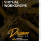 Hands stacked on top of each other. The text reads virtual workshops. The Dream Series Mayor's MLK Commission.
