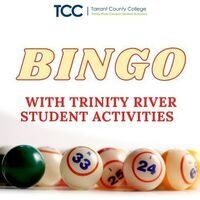 TCC, Tarrant County College, Success with Reach. Bingo with Trinity River Student Activities. At the bottom of the picture are bingo balls with the numbers 33, 25, 24 and 6 showing.