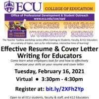 COE Teacher Toolbox: Effective Resume & Cover Letter Writing for Educators Flyer Spring 2021