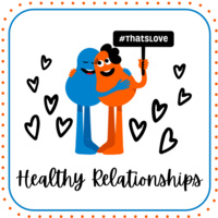 white background with hearts, blue and orange cartoon figures hugging hold sign that says
