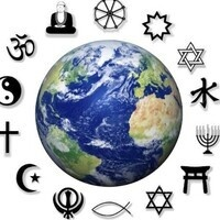 Earth with religious symbols