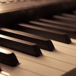 close shot of piano keys