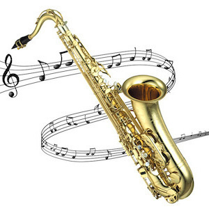 saxophone with music notes