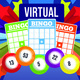 Picture has 3 Bingo cards on it that have Bingo written at the top of each card. Above that is a card that has Virtual written at the top. There are multi colored stars in the background that appear to be shooting out towards the screen and bingo balls at the bottom with the numbers 13, 53, 5, 22 and 8 on them.